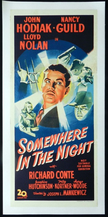 SOMEWHERE IN THE NIGHT Movie Poster 1946 Film Noir Linen Backed Daybill Movie Poster