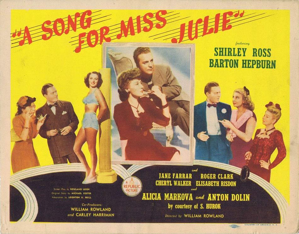 A SONG FOR MISS JULIE Title Lobby Card Shirley Ross Barton Hepburn