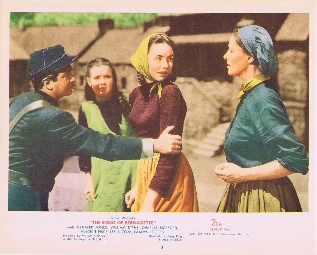 SONG OF BERNADETTE Original Lobby Card 3 Jennifer Jones Charles Bickford 1954r