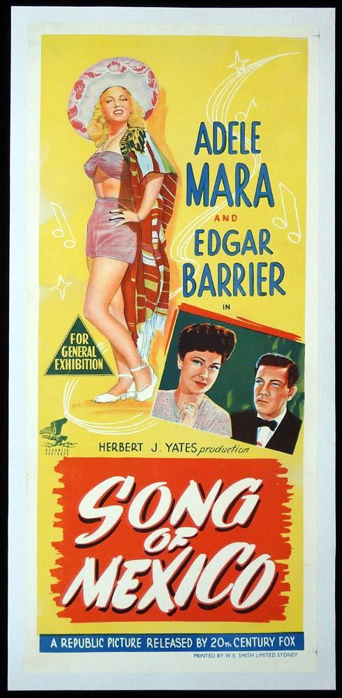 SONG OF MEXICO Original LINEN BACKED Daybill Movie Poster Adele Mara