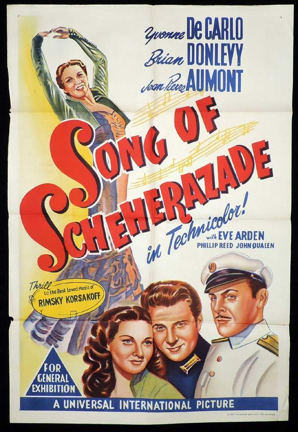 SONG OF SCHEHERAZADE One sheet Movie poster Yvonne DeCarlo