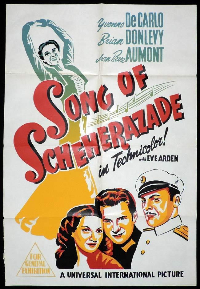 SONG OF SCHEHERAZADE Original One sheet Movie Poster Yvonne De Carlo Jean-Pierre Aumont
