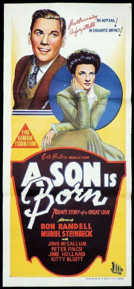 A SON IS BORN Original Daybill Movie Poster Peter Rinch Ron Randell