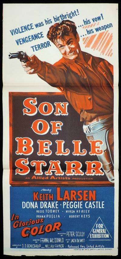 SON OF BELLE STARR Daybill Movie poster Keith Larsen Western