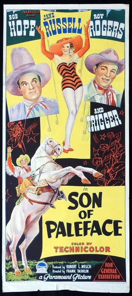 SON OF PALEFACE Original daybill Movie Poster Bob Hope Jane Russell Roy Rogers
