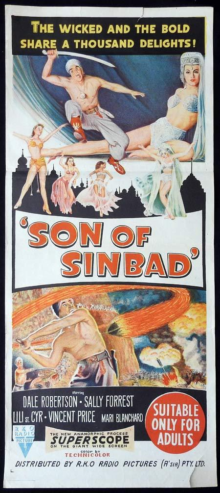 SON OF SINBAD Original Daybill Movie Poster RKO Dale Robertson Vincent Price