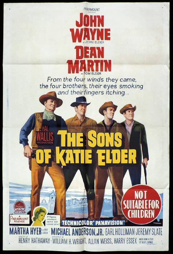 THE SONS OF KATIE ELDER One Sheet Movie Poster John Wayne Dean Martin
