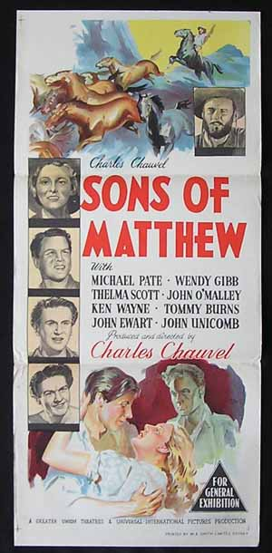 SONS OF MATTHEW Movie Poster 1949 Charles Chauvel RARE ORIGINAL Australian Daybill