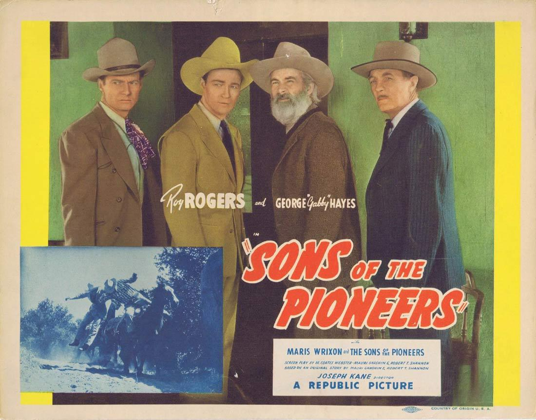 SONS OF THE PIONEERS Title Lobby Card 1942 Roy Rogers George 'Gabby' Hayes Bob Nolan