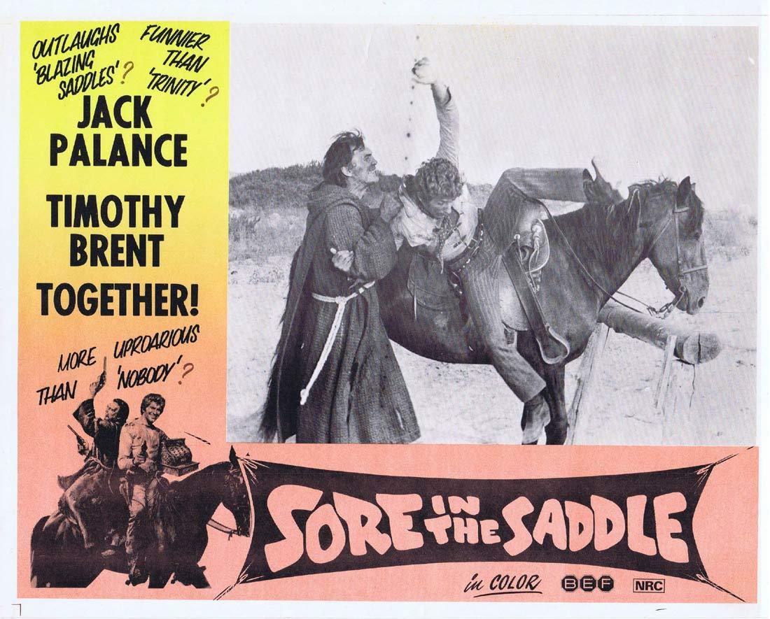 SORE IN THE SADDLE Lobby Card 1 Jack Palance Timothy Brent Tedeum