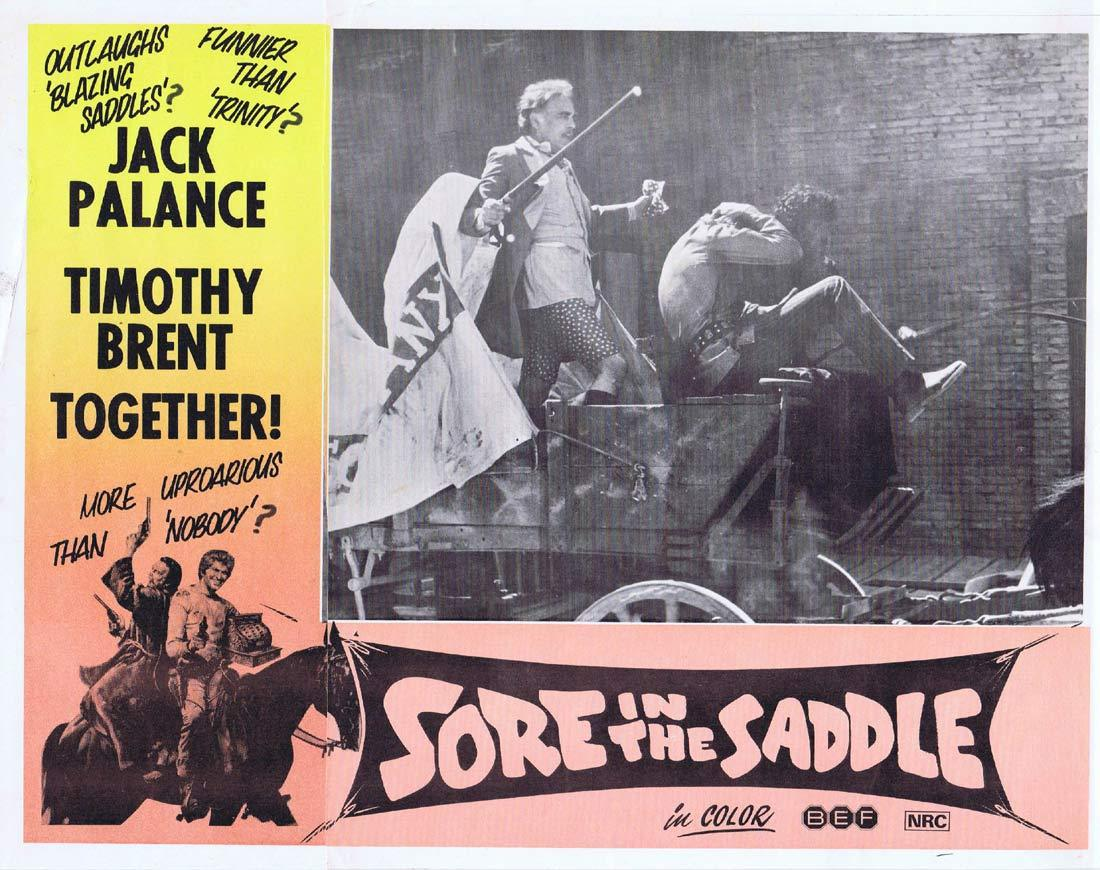 SORE IN THE SADDLE Lobby Card 3 Jack Palance Timothy Brent Tedeum