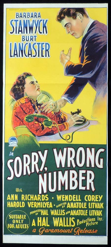 Sorry Wrong Number Original Daybill Movie Poster Burt