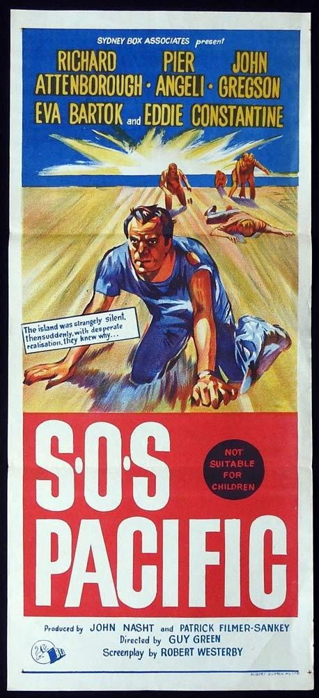 SOS PACIFIC Original Daybill Movie poster Richard Attenborough Pier Angel
