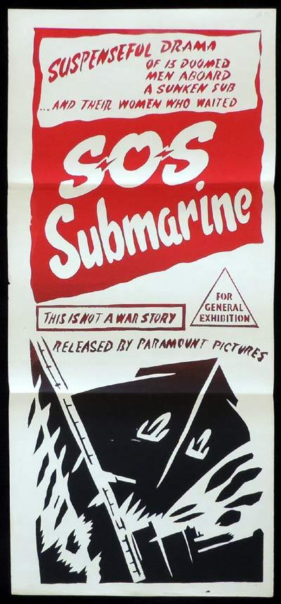 SOS SUBMARINE Original Daybill Movie Poster Charlton Heston