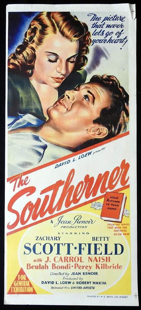 THE SOUTHERNER Original Daybill Movie poster Richard Travis Zachary Scott Betty Field