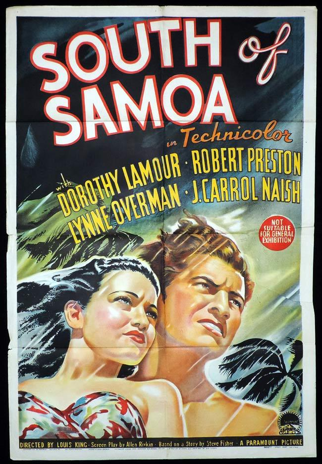 SOUTH OF SAMOA One sheet Movie Poster TYPHOON Dorothy Lamour