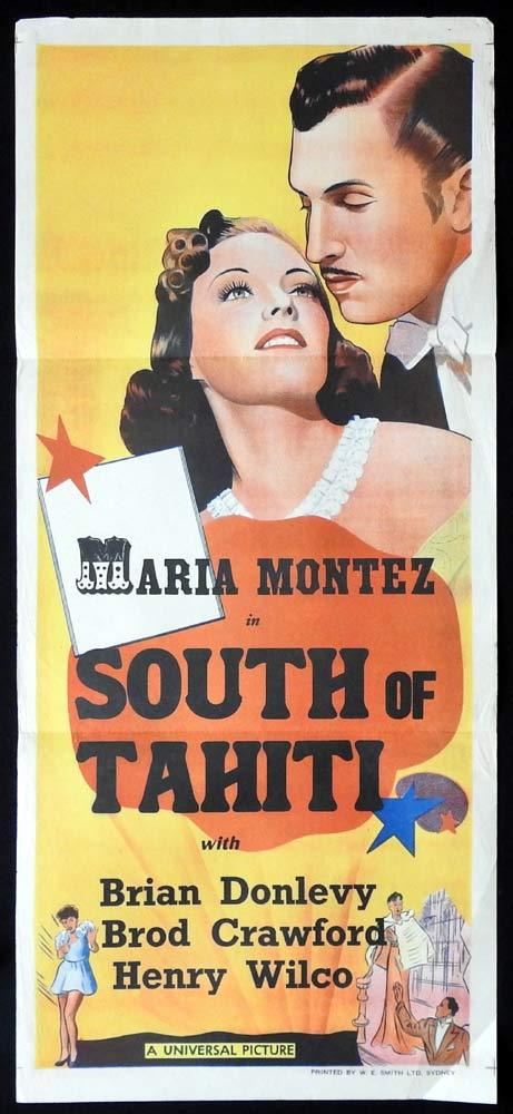 SOUTH OF TAHITI Original 40s Stock Daybill Movie Poster Maria Montez