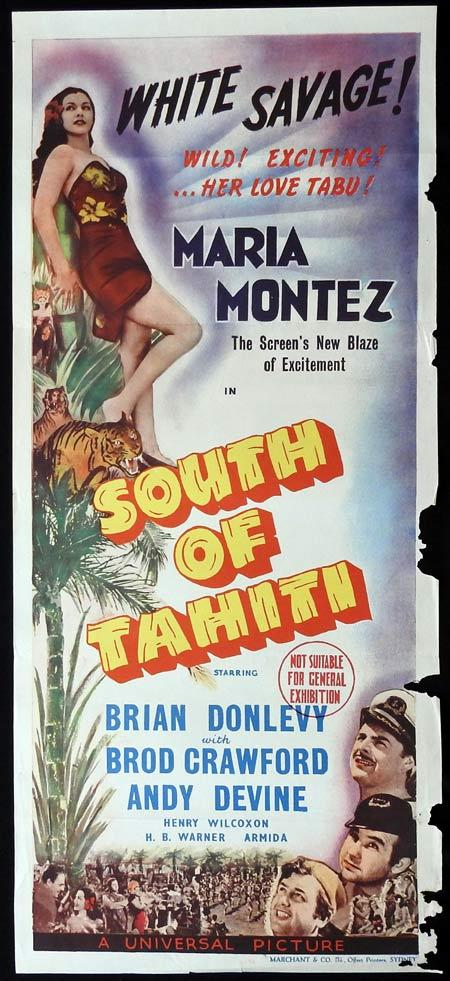 SOUTH OF TAHITI Original Daybill Movie Poster Maria Montez Marchant Graphics