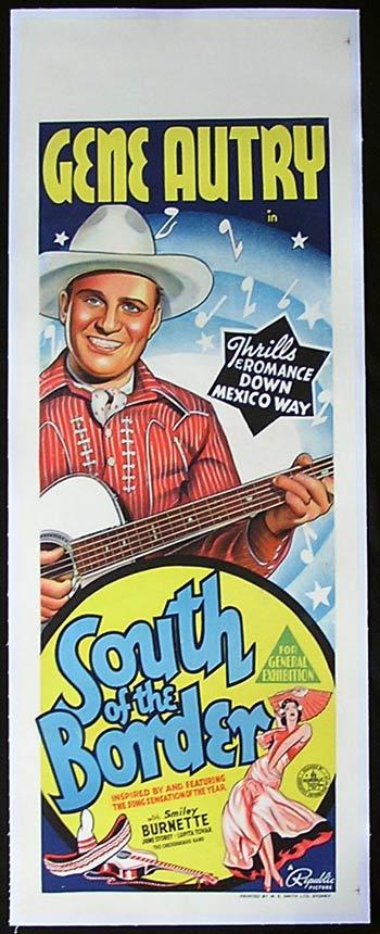 SOUTH OF THE BORDER Long Daybill Movie poster Gene Autry 1939 Linen Backed