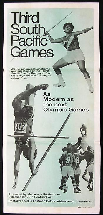 SOUTH PACIFIC GAMES Movietone News Daybill Movie poster