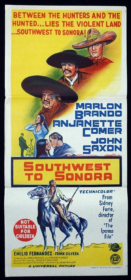 SOUTHWEST TO SONORA Original Daybill Movie poster The Appaloosa Marlon Brando