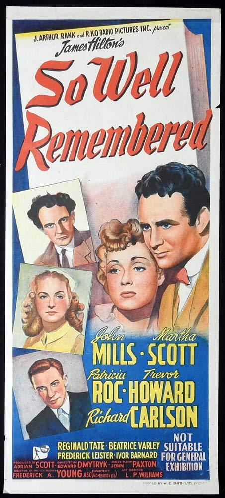 SO WELL REMEMBERED Original Daybill Movie poster John Mills Martha Scott