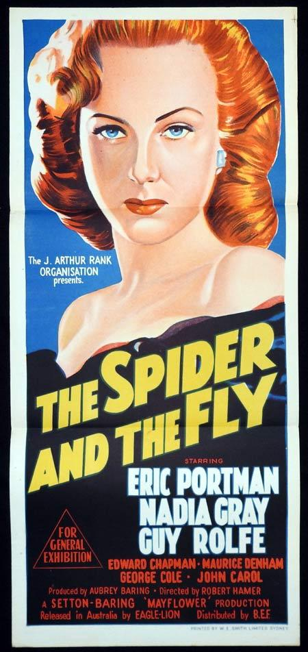 THE SPIDER AND THE FLY Original Daybill Movie Poster Eric Portman Guy Rolfe Nadia Gray