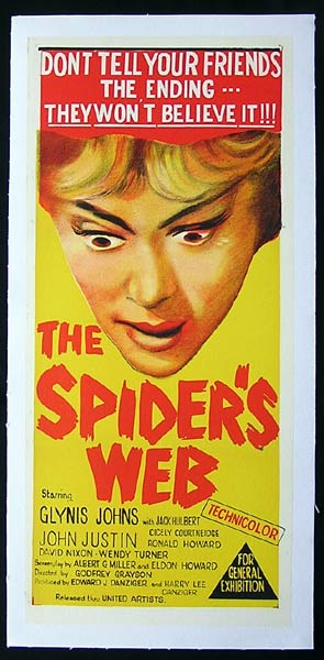 SPIDER'S WEB Glynis Johns Jack Hulbert Agatha Christie LINEN BACKED Daybill Movie poster