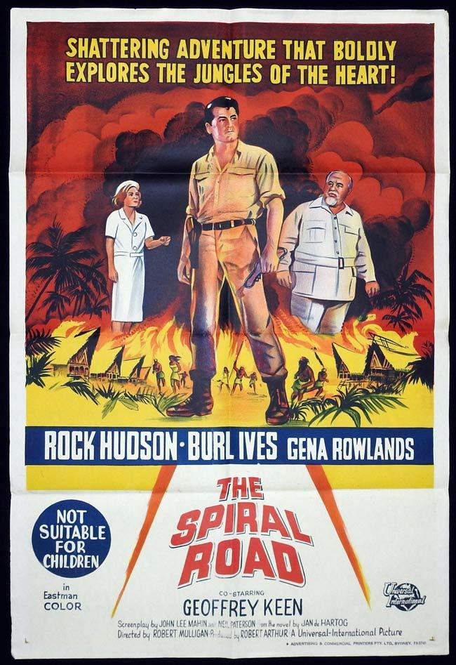 THE SPIRAL ROAD Original One sheet Movie poster Rock Hudson Burl Ives