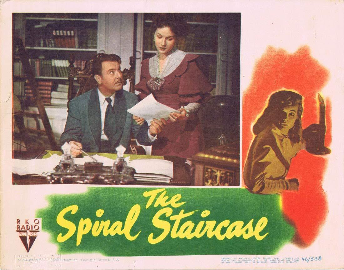 THE SPIRAL STAIRCASE Original Lobby Card 2 Dorothy McGuire George Brent Ethel Barrymore |RKO