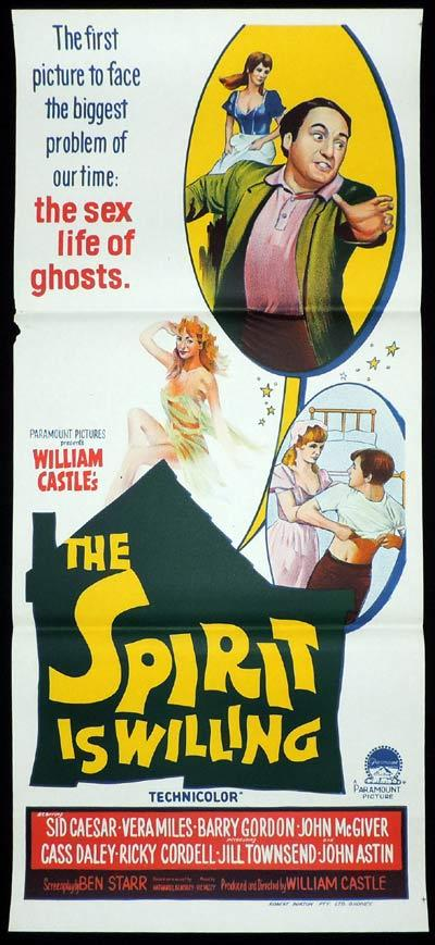 THE SPIRIT IS WILLING Daybill Movie Poster William Castle Ghosts