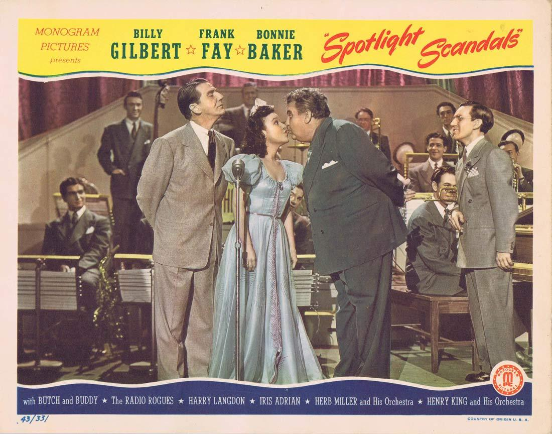 SPOTLIGHT SCANDALS Original Lobby Card Billy Gilbert Frank Fay Bonnie Baker