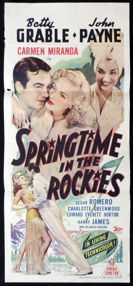 SPRINGTIME IN THE ROCKIES Original Daybill Movie Poster Betty Grable Carmen Miranda Marchant