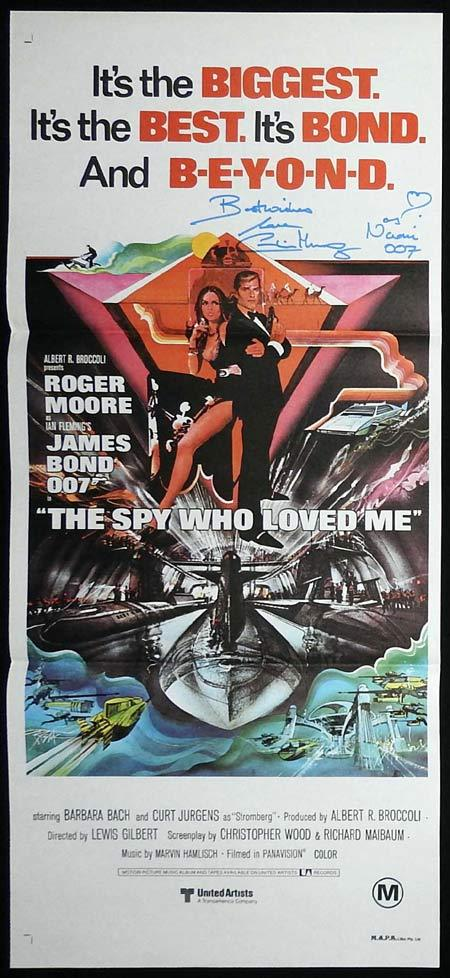 THE SPY WHO LOVED ME Daybill Movie poster AUTOGRAPHED by Caroline Munro