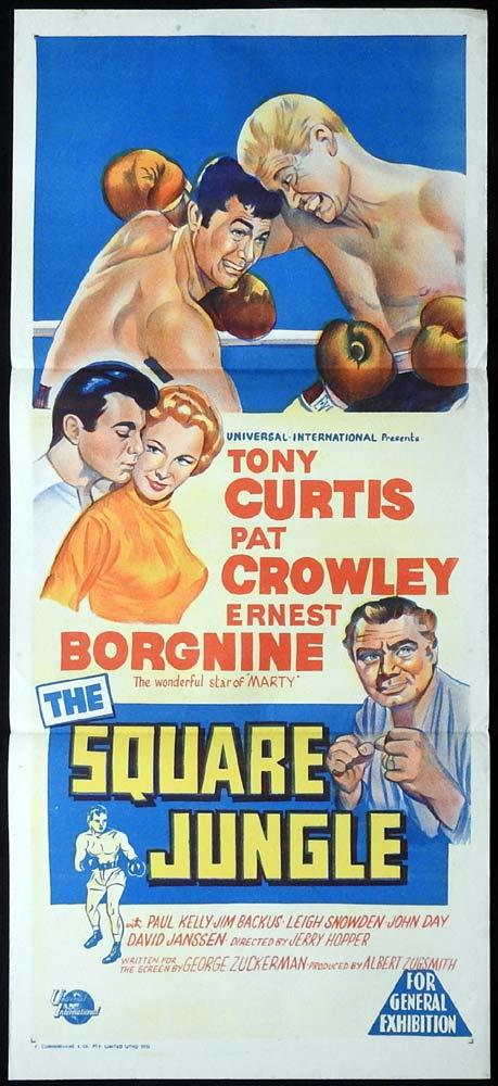 THE SQUARE JUNGLE Daybill Movie Poster Tony Curtis BOXING Ernest Borgnine