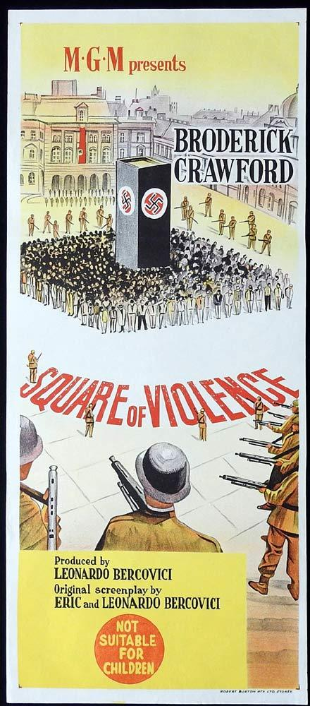 SQUARE OF VIOLENCE Original Daybill Movie Poster Broderick Crawford