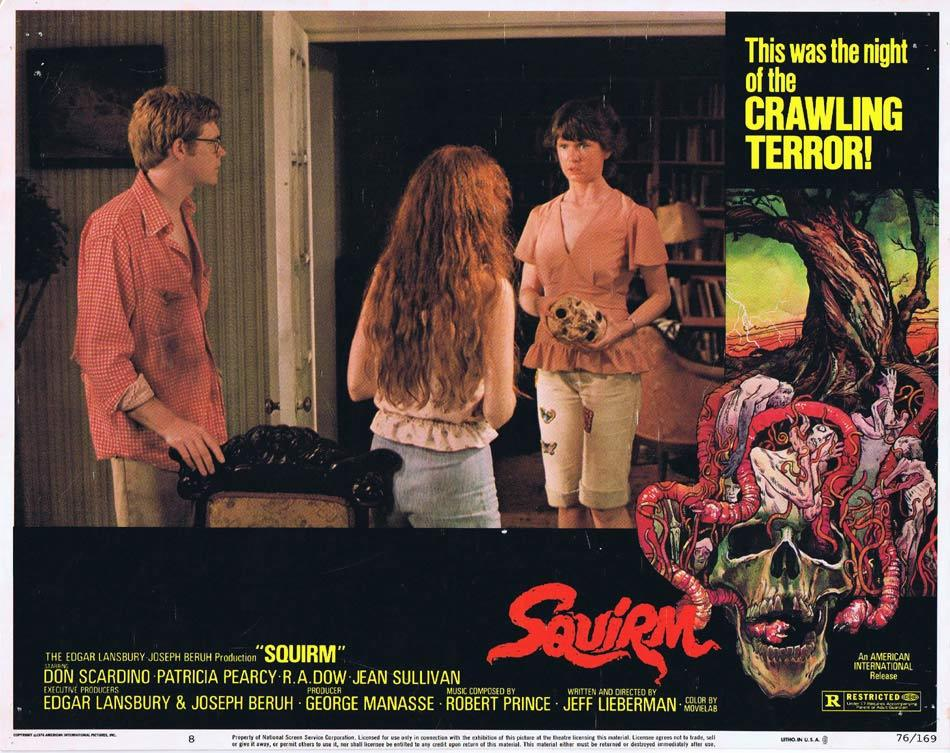SQUIRM Lobby card 8 Man Eating Worms Horror