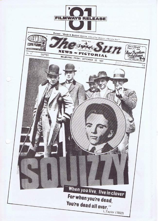 SQUIZZY TAYLOR Movie Press Sheet David Atkins The Age Newspaper
