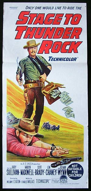 STAGE TO THUNDER ROCK 1964 Daybill Movie Poster Barry Sullivan