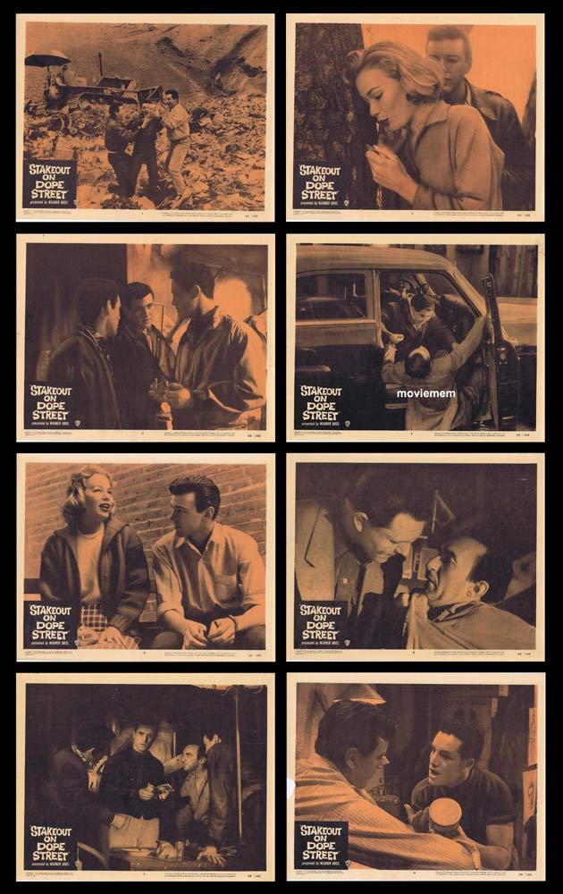 STAKEOUT ON DOPE STREET Original Lobby Card set Yale Wexler Abby Dalton Film Noir
