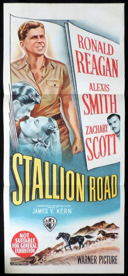 STALLION ROAD Original Daybill Movie Poster Ronald Reagan Alexis Smith