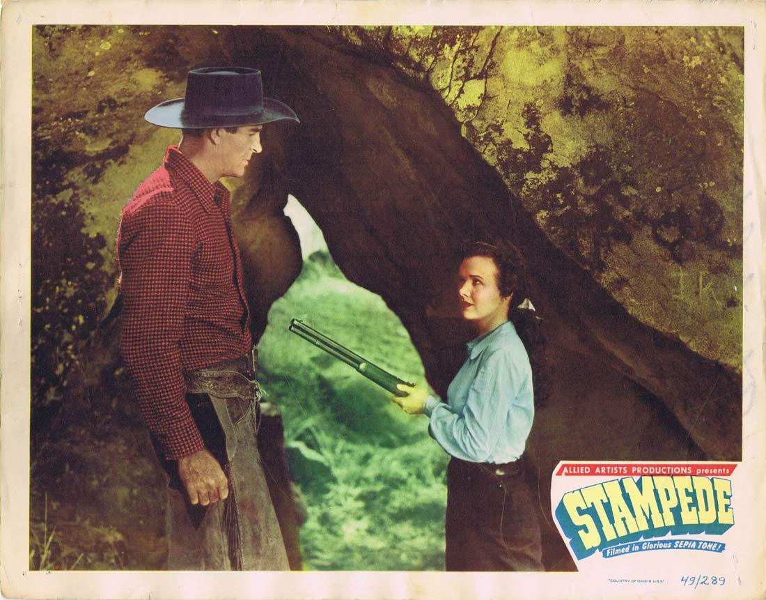 STAMPEDE Original Lobby Card Rod Cameron Gale Storm Johnny Mack Brown