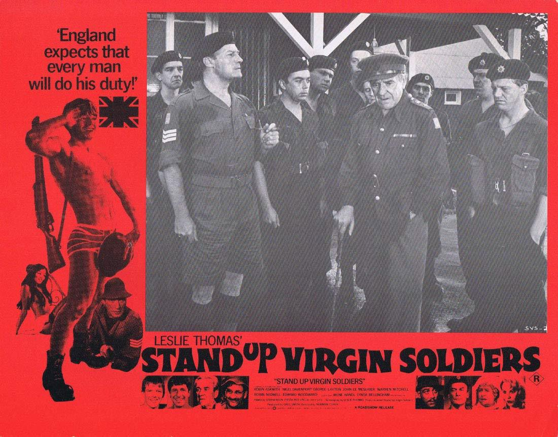 STAND UP VIRGIN SOLDIERS Original Australian Lobby Card 8 Edward Woodward John LeMesurier