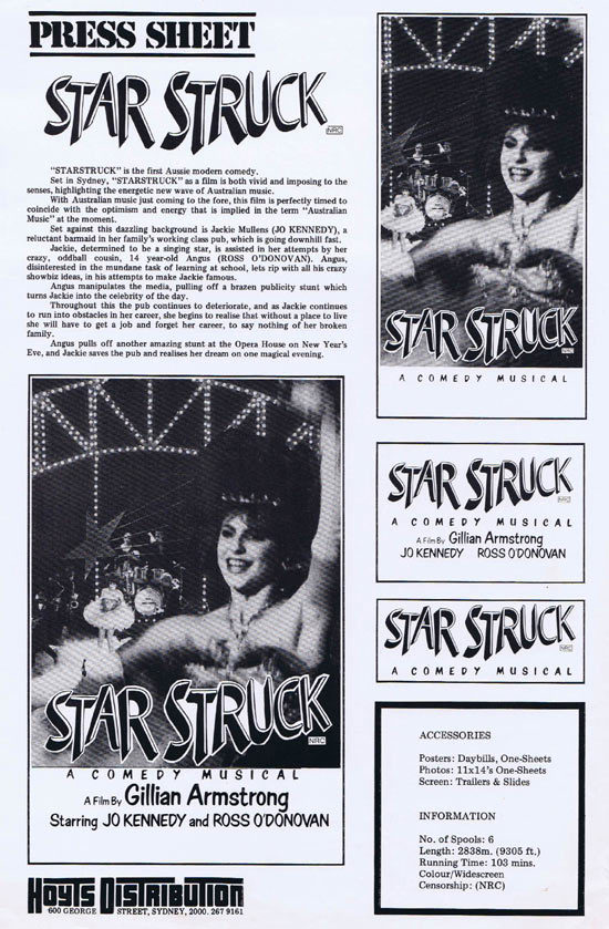 STARSTRUCK Rare AUSTRALIAN Movie Press Sheet