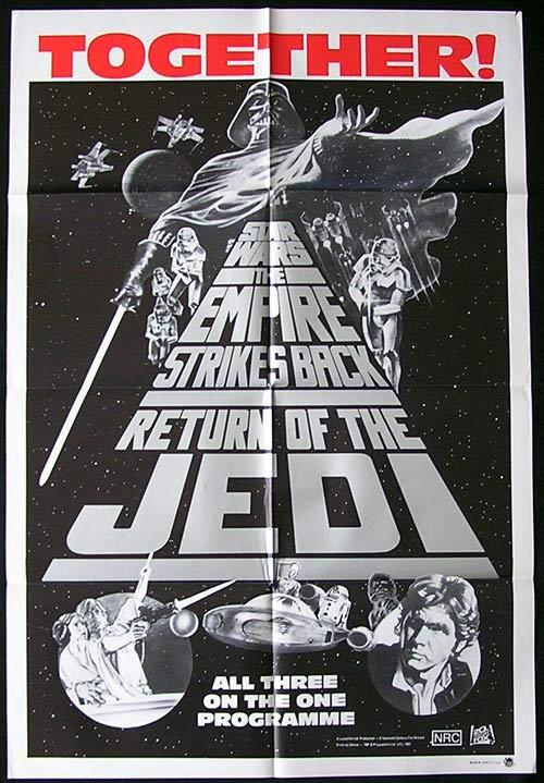 STAR WARS TRIPLE BILL 1985 Ford Hamill Australian One Sheet Movie Poster