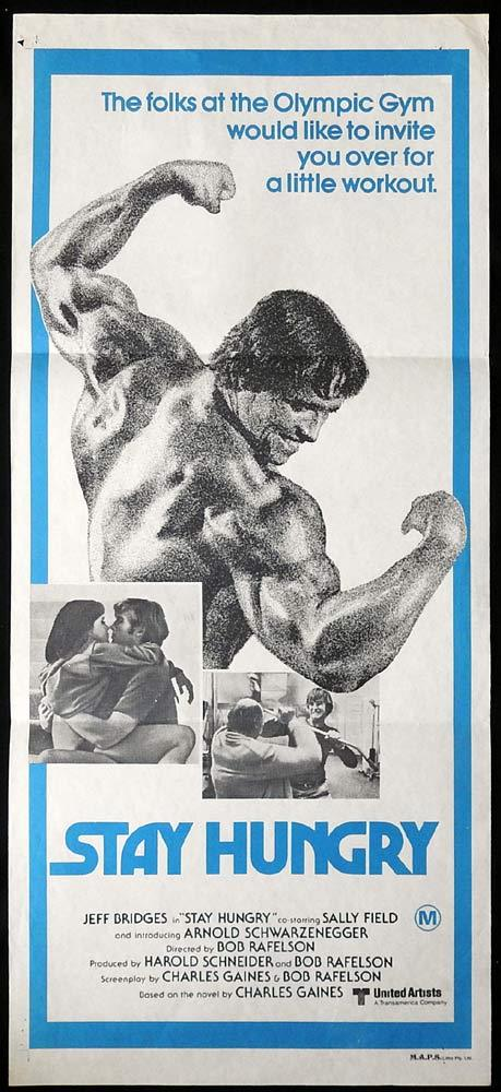 STAY HUNGRY Original Daybill Movie poster Arnold Schwarzenegger