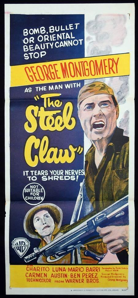 THE STEEL CLAW Original Daybill Movie Poster George Montgomery Philippines