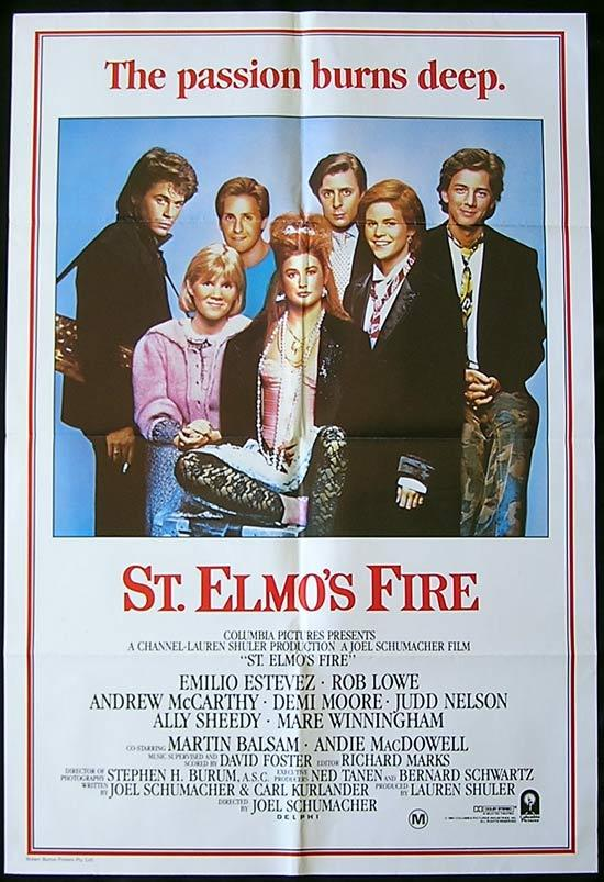 ST ELMOS FIRE Original One sheet Movie poster Emilio Estevez Rob Lowe
