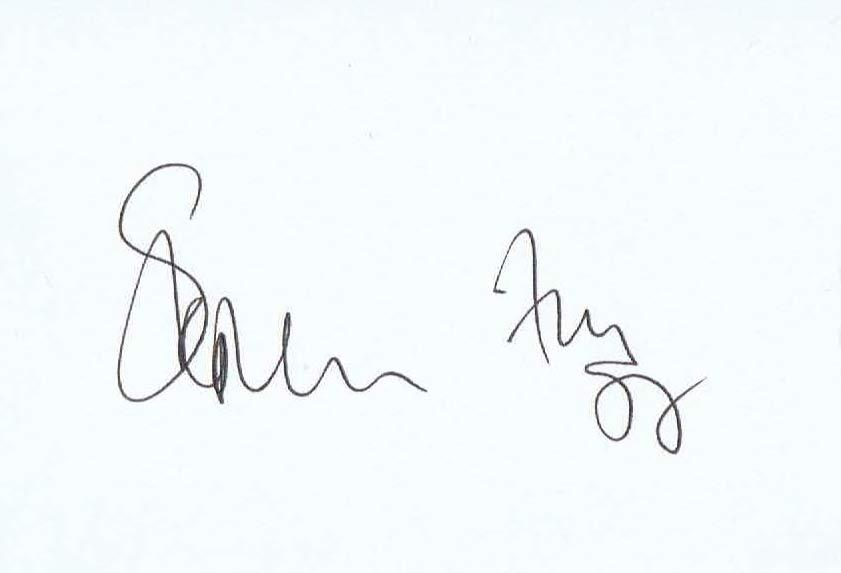 STEPHEN FRY Autographed Index Card
