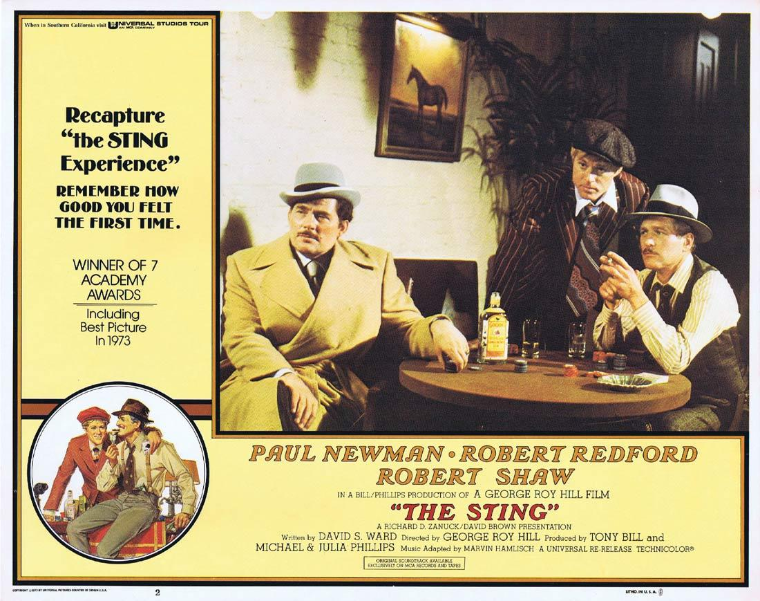 THE STING Original Lobby Card 2 Paul Newman Robert Redford Robert Shaw